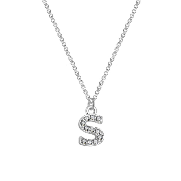 Pave Initial Necklace Letter S Created with Swarovski Crystals