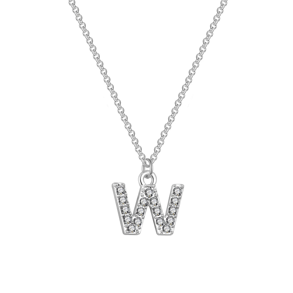 Pave Initial Necklace Letter W Created with Swarovski Crystals