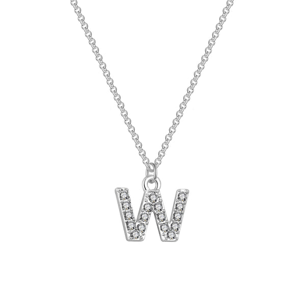 Pave Initial Necklace Letter W Created with Swarovski® Crystals