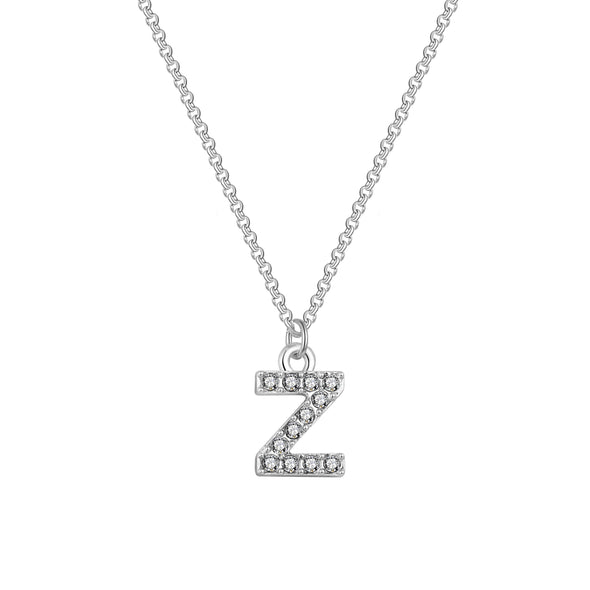 Pave Initial Necklace Letter Z Created with Swarovski Crystals