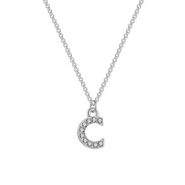 Pave Initial Necklace Letter C Created with Swarovski® Crystals