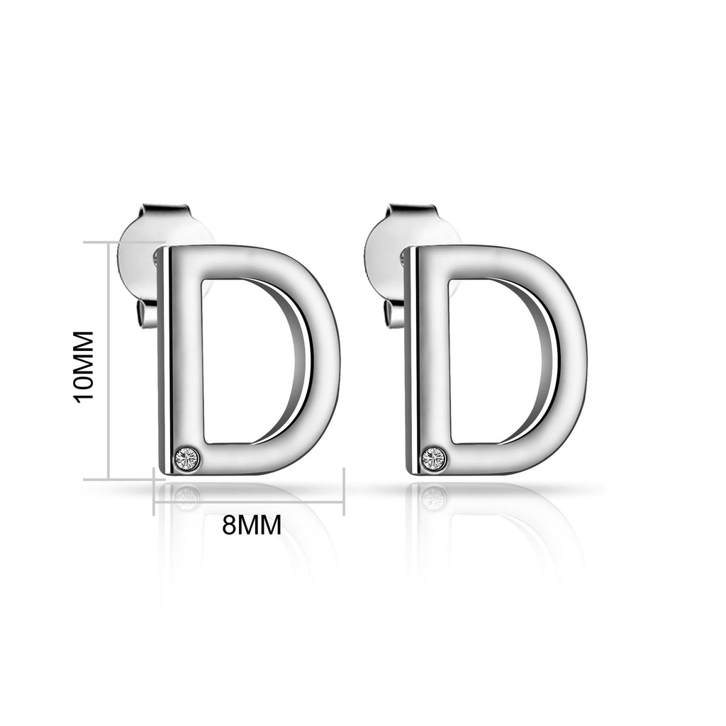 Initial Earrings Letter D Created with Swarovski Crystals