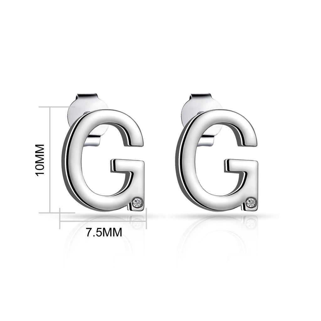 Initial Earrings Letter G Created with Swarovski Crystals