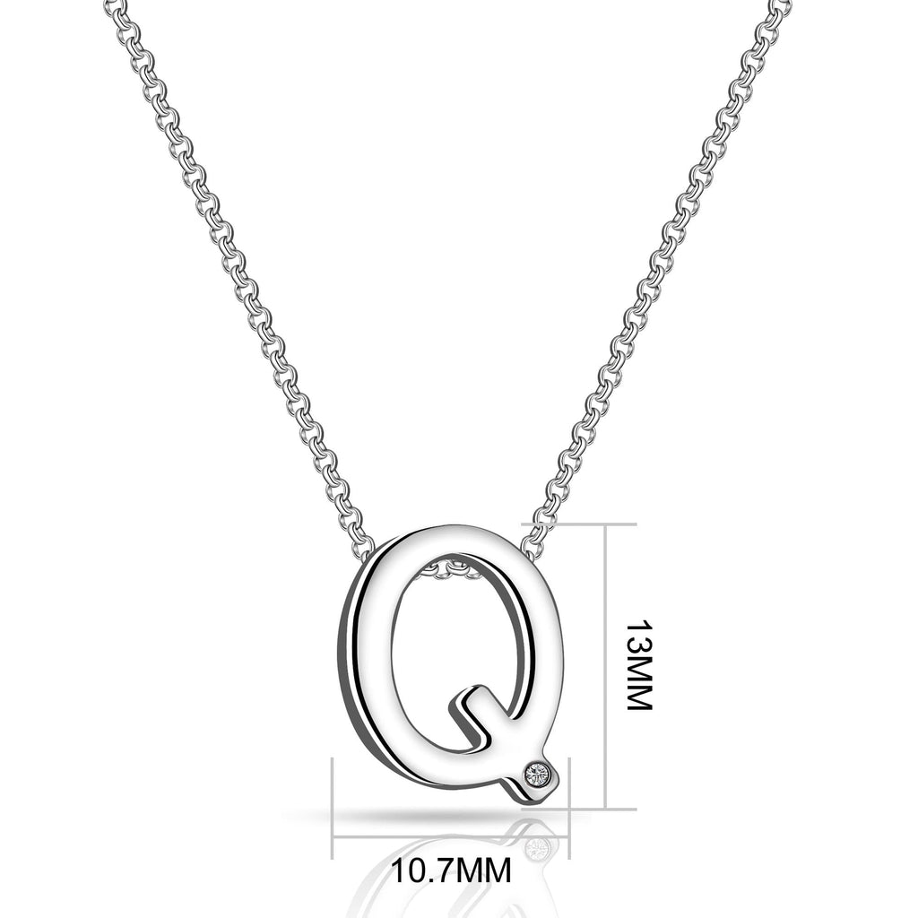 Initial Necklace Letter Q Created with Swarovski Crystals