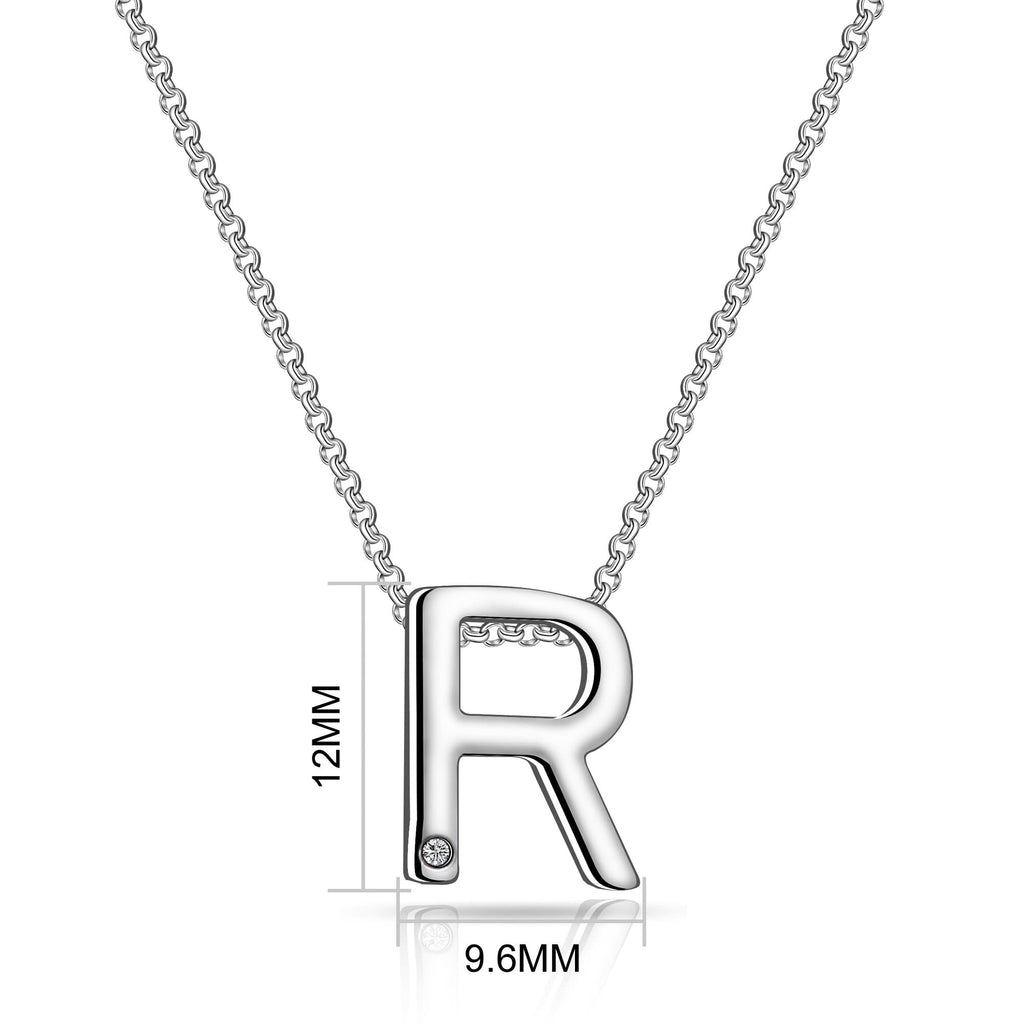 Initial Necklace Letter R Created with Swarovski Crystals