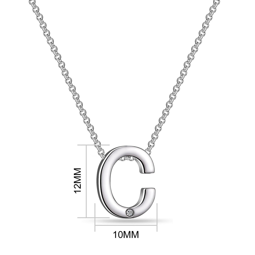 Initial Necklace Letter C Created with Swarovski Crystals