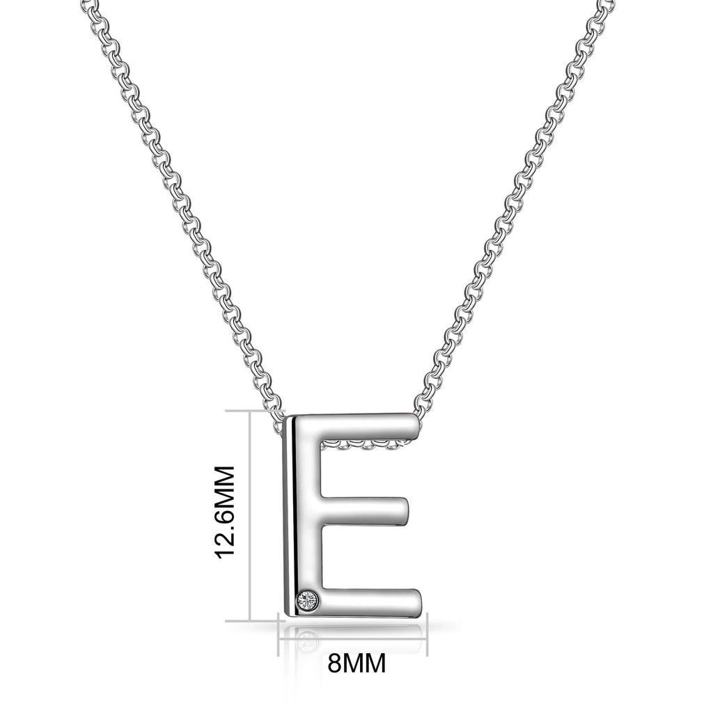 Initial Necklace Letter E Created with Swarovski Crystals