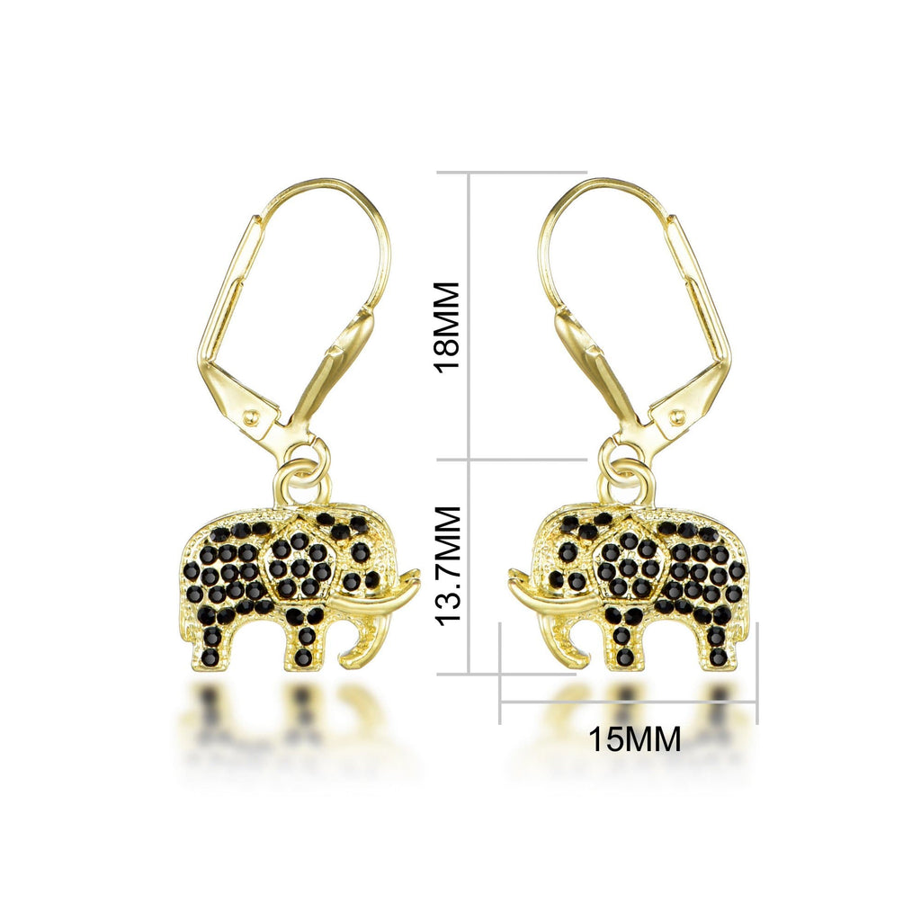 Crystal Elephant Drop Earrings