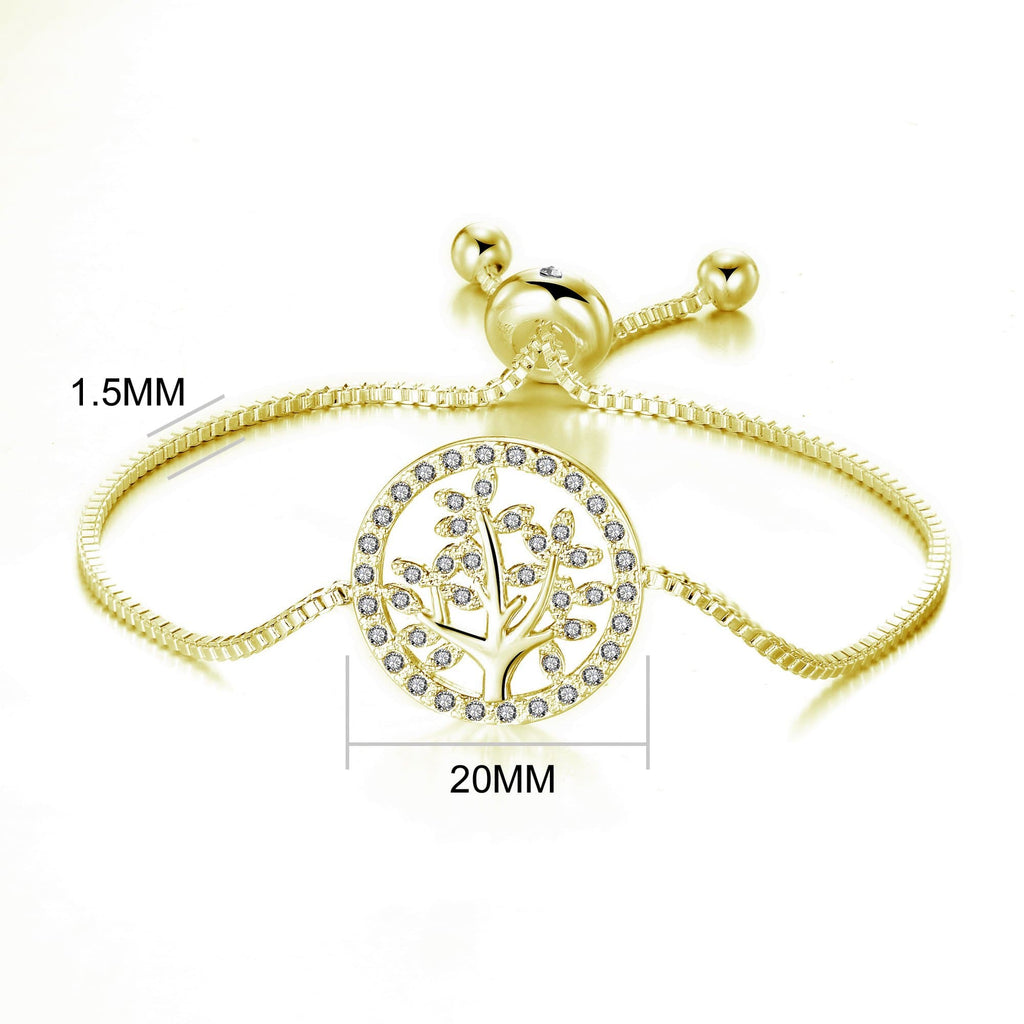 Gold Tree of Life Bracelet Created with Swarovski® Crystals