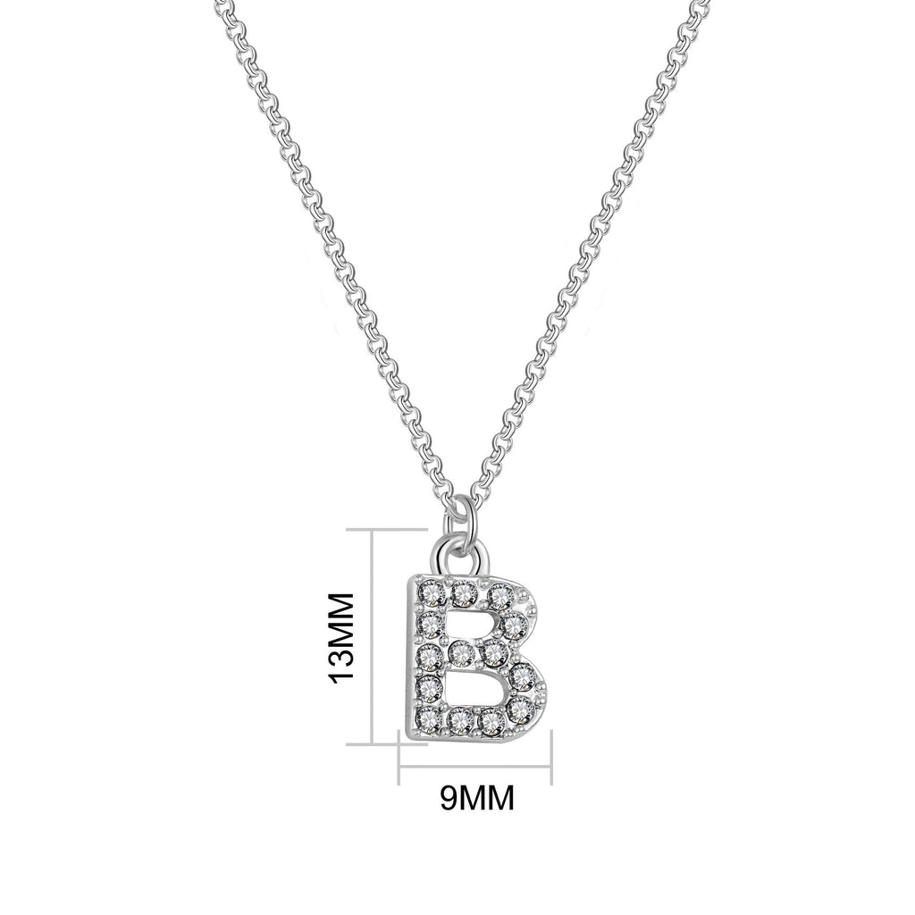 Pave Initial Necklace Letter B Created with Swarovski Crystals