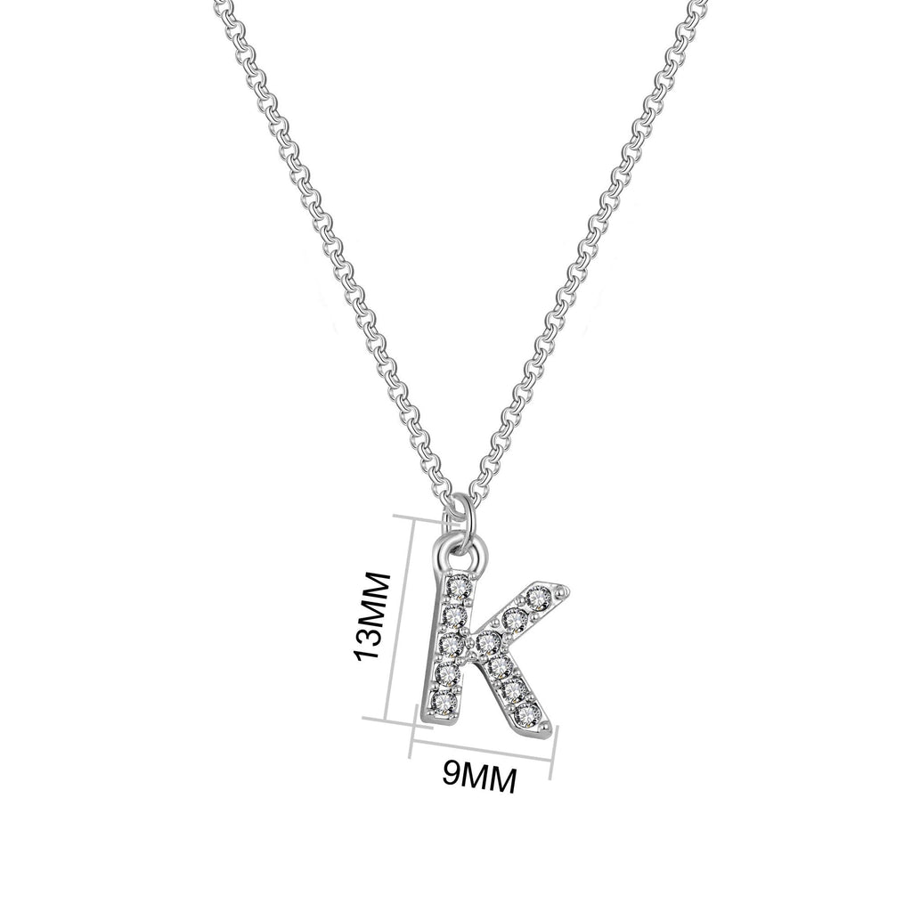 Pave Initial Necklace Letter K Created with Swarovski Crystals