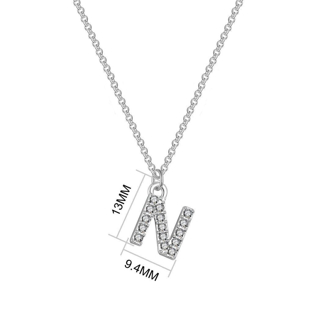 Pave Initial Necklace Letter N Created with Swarovski Crystals