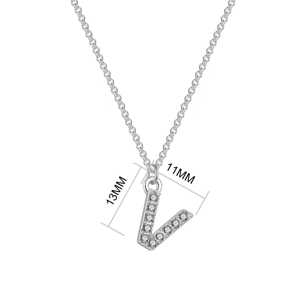 Pave Initial Necklace Letter V Created with Swarovski® Crystals