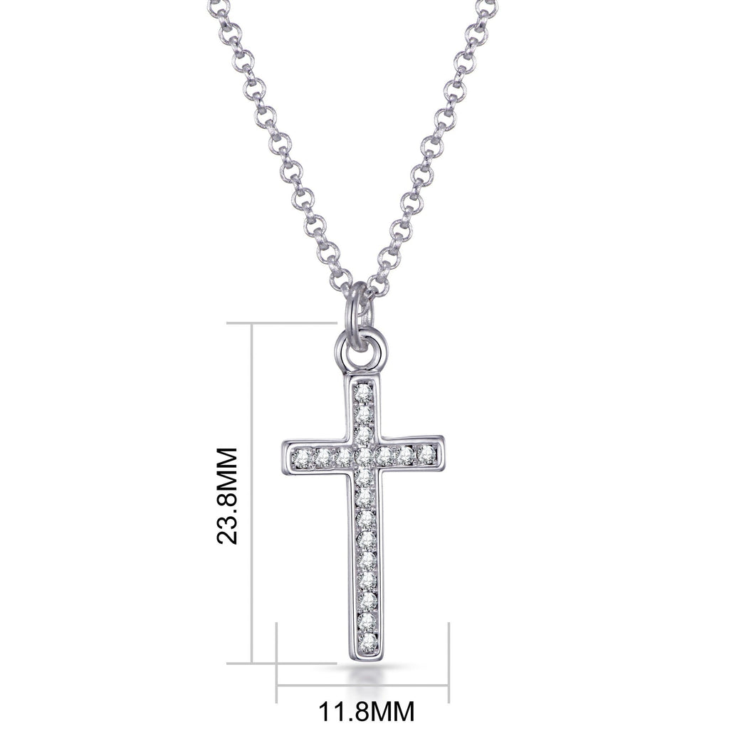 Silver-Tone Pave Cross Necklace