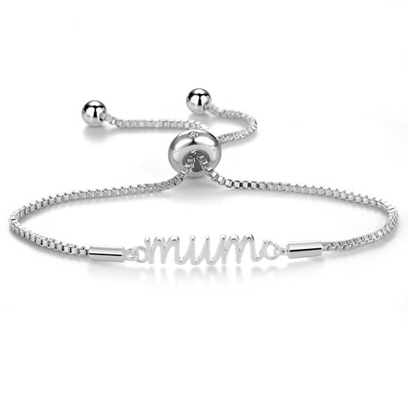 Silver Plated Mum Bracelet Created with Swarovski Crystals