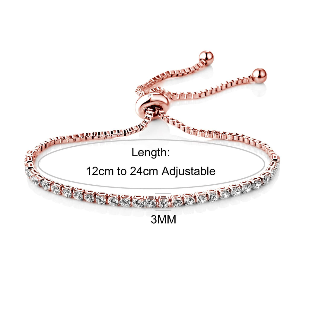 Rose Gold Solitaire Friendship Bracelet Created with Swarovski Crystals