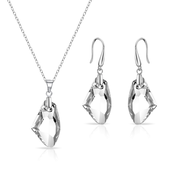 Sterling Silver Icecap Drop Set Created with Swarovski Crystals