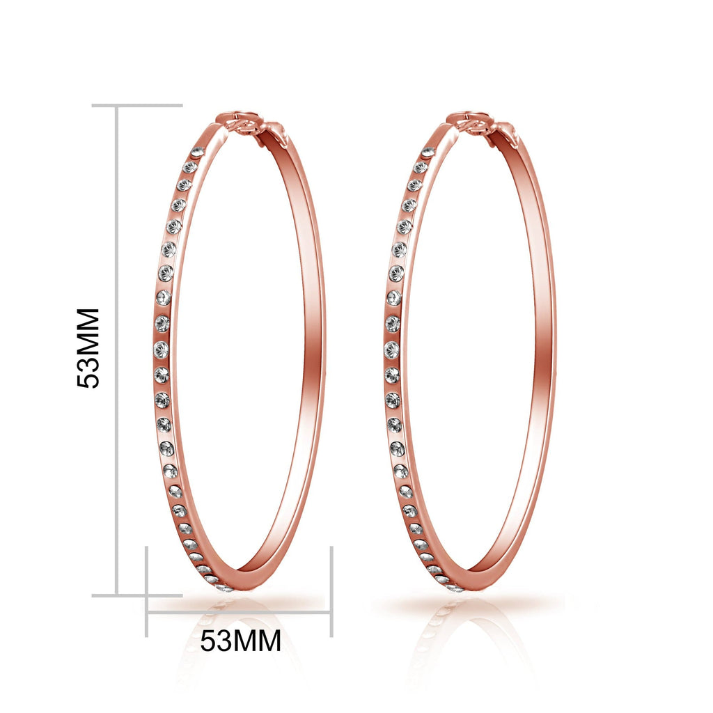 Rose Gold 50mm Hoop Earrings Created with Swarovski Crystals