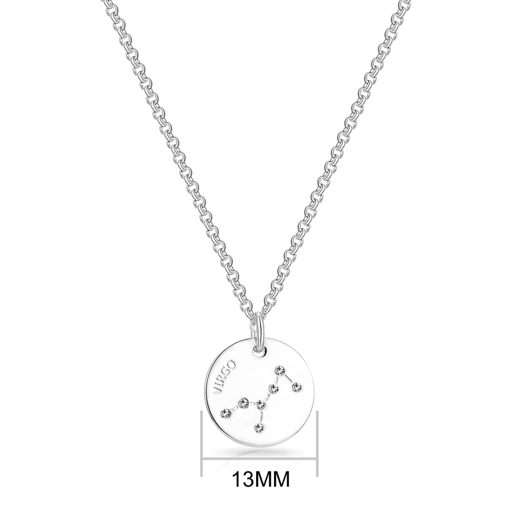 Virgo Starsign Disc Necklace Created with Swarovski Crystals