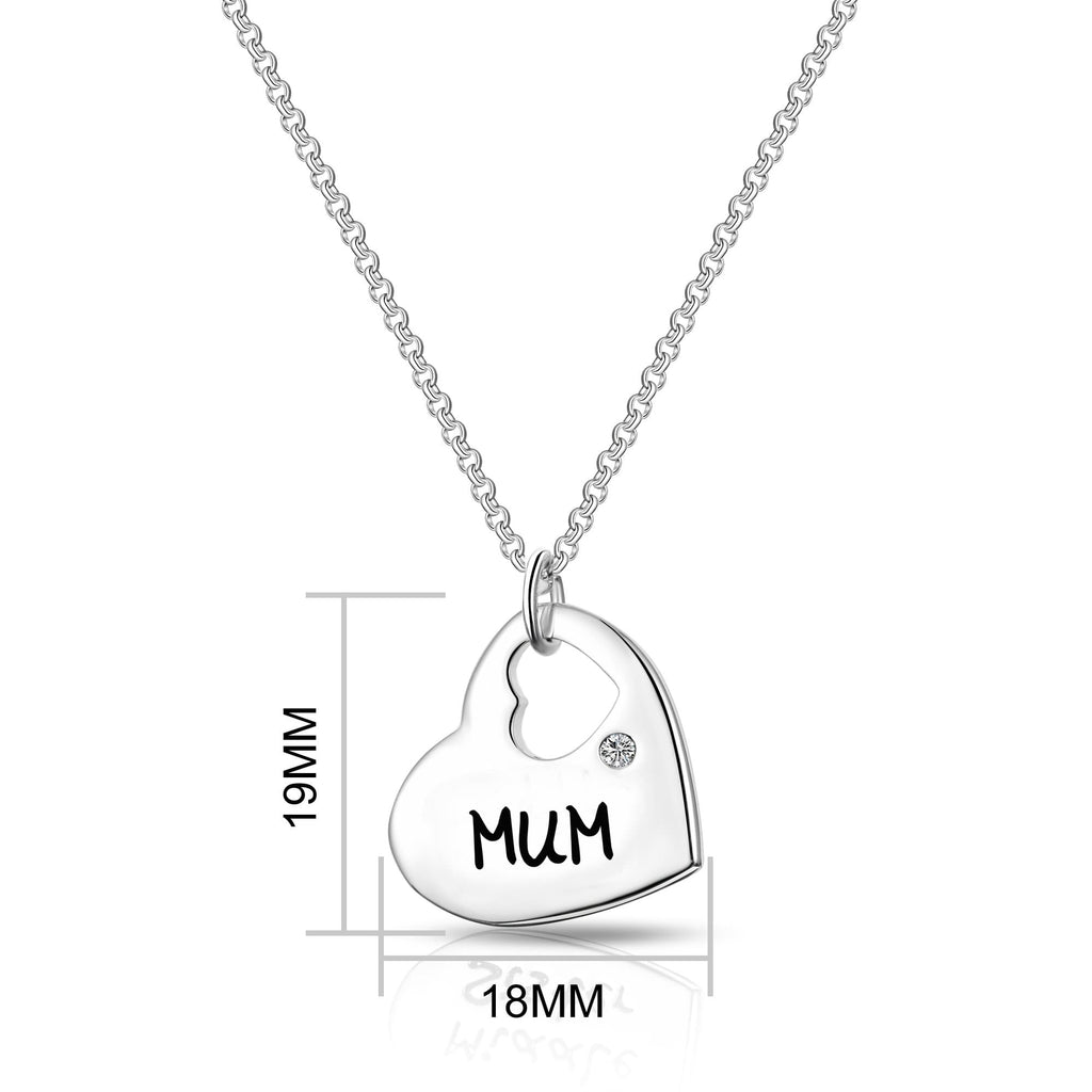 Mum Heart Necklace Created with Swarovski Crystals