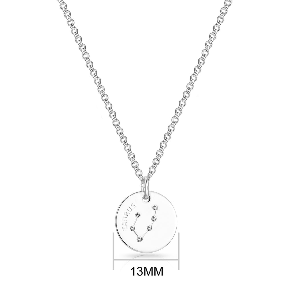Taurus Starsign Disc Necklace Created with Swarovski Crystals