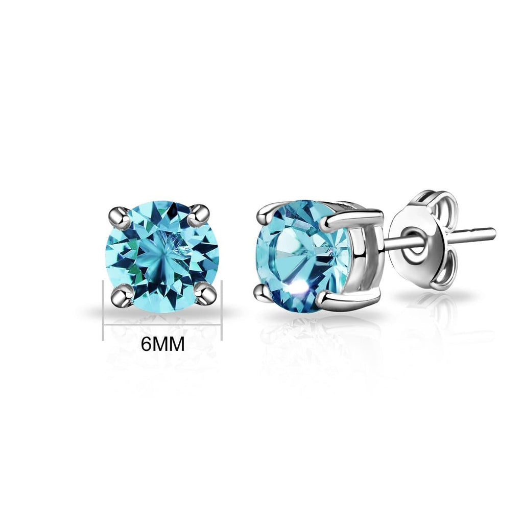March (Aquamarine) Birthstone Earrings Created with Swarovski Crystals