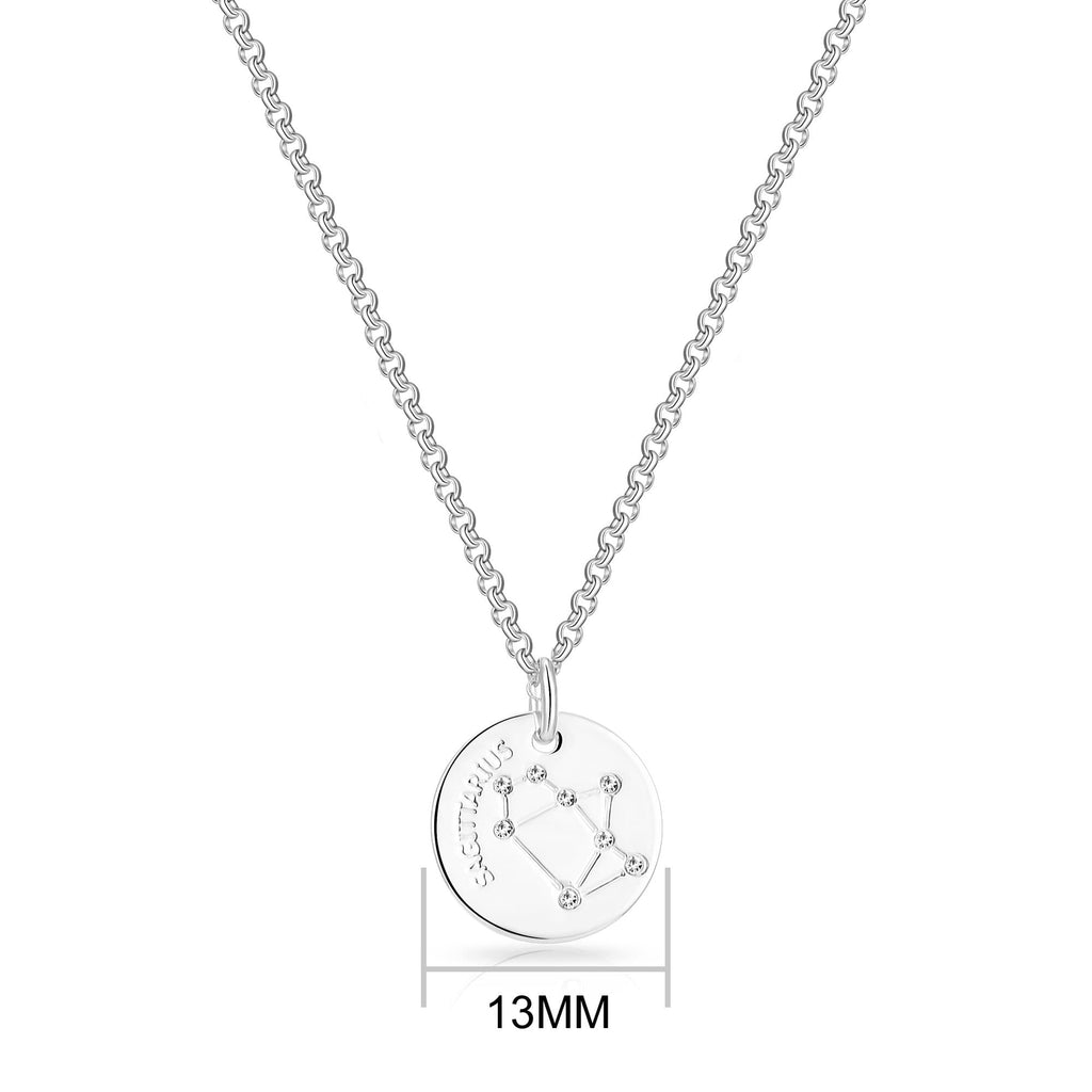 Sagittarius Starsign Disc Necklace Created with Swarovski Crystals