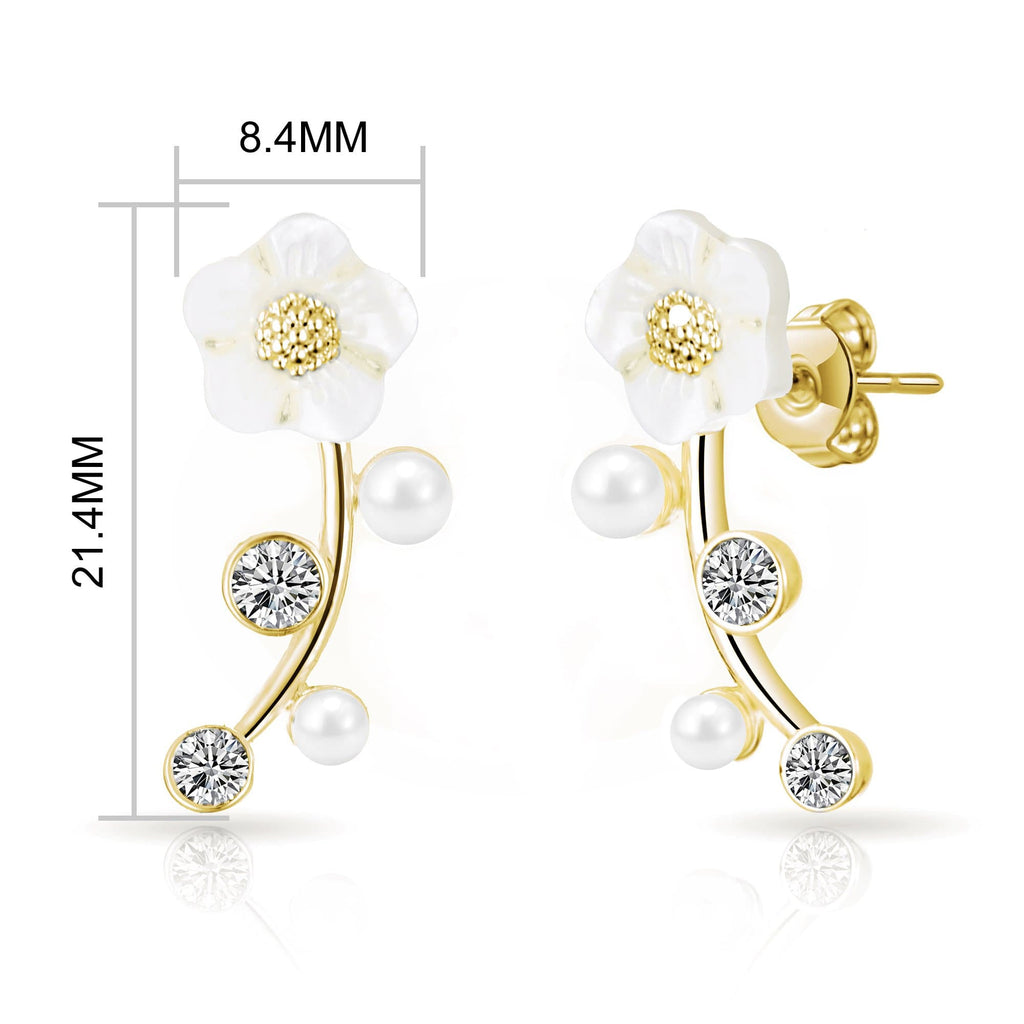 Gold Daisy Climber Earrings Created with Swarovski Crystals