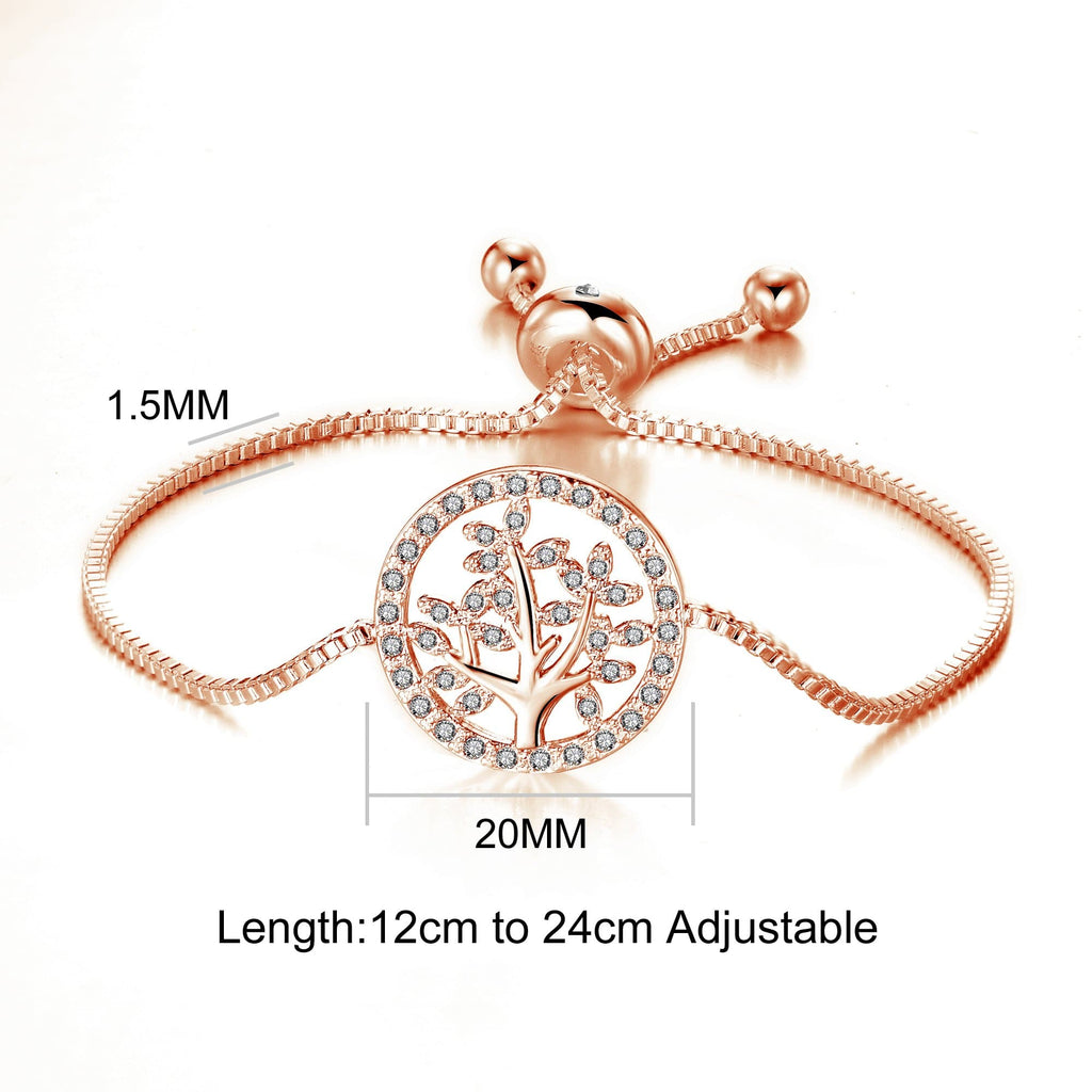 Rose Gold Tree of Life Bracelet Created with Swarovski Crystals