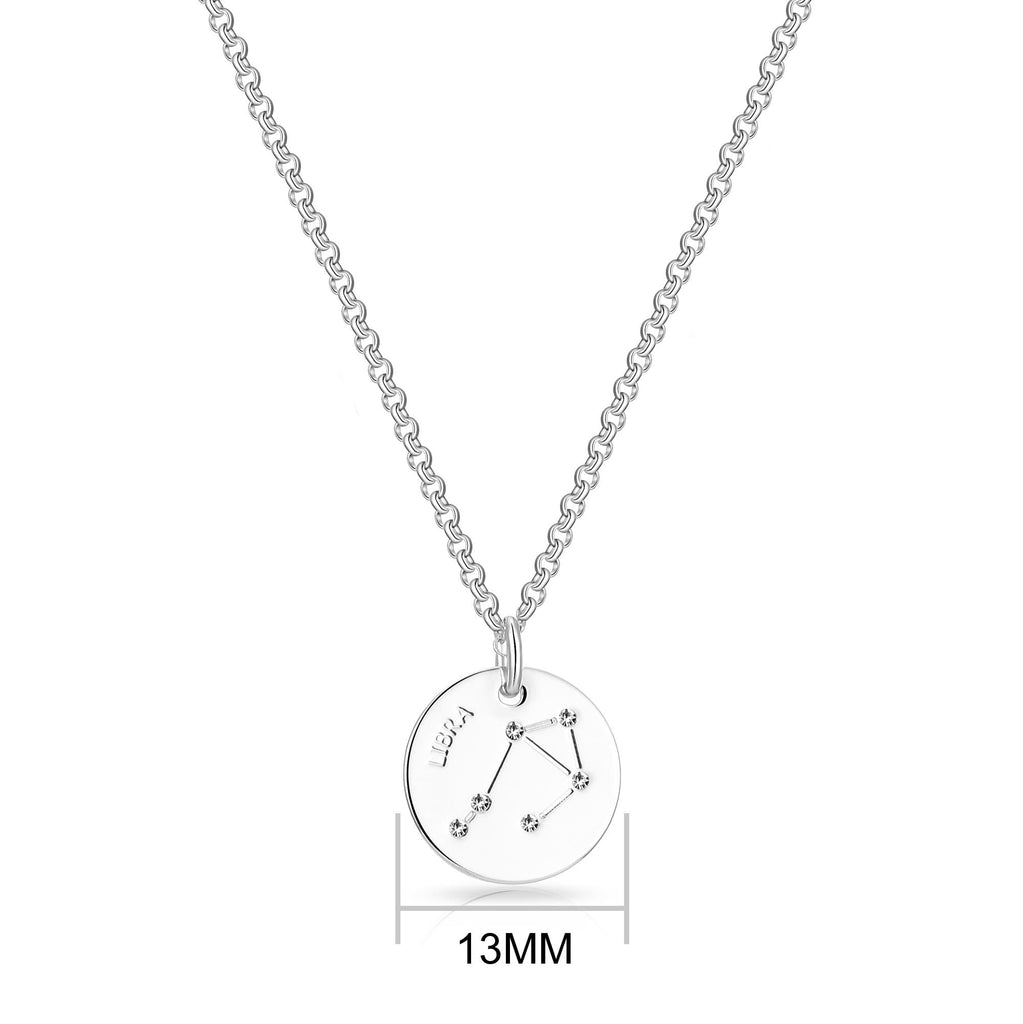 Libra Starsign Disc Necklace Created with Swarovski Crystals