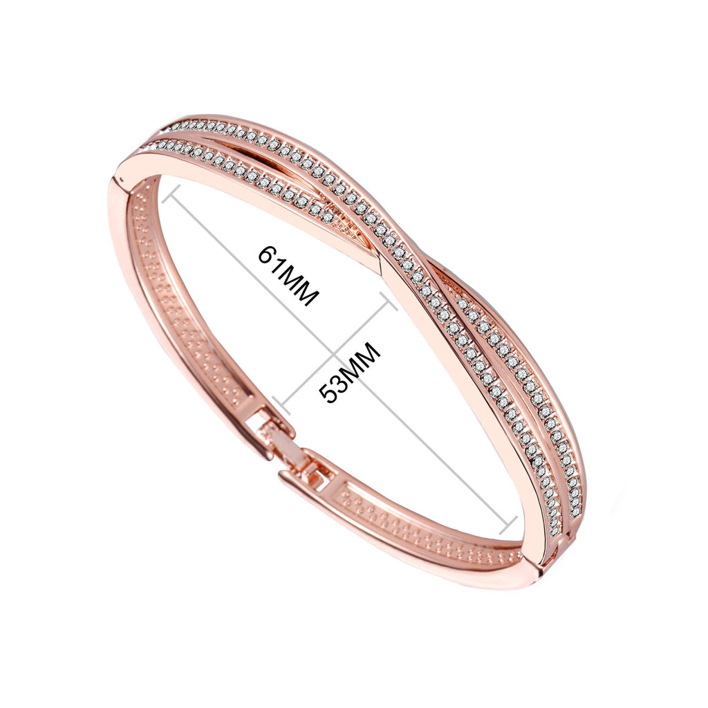 Rose Gold Crossover Bangle Created with Swarovski Crystals