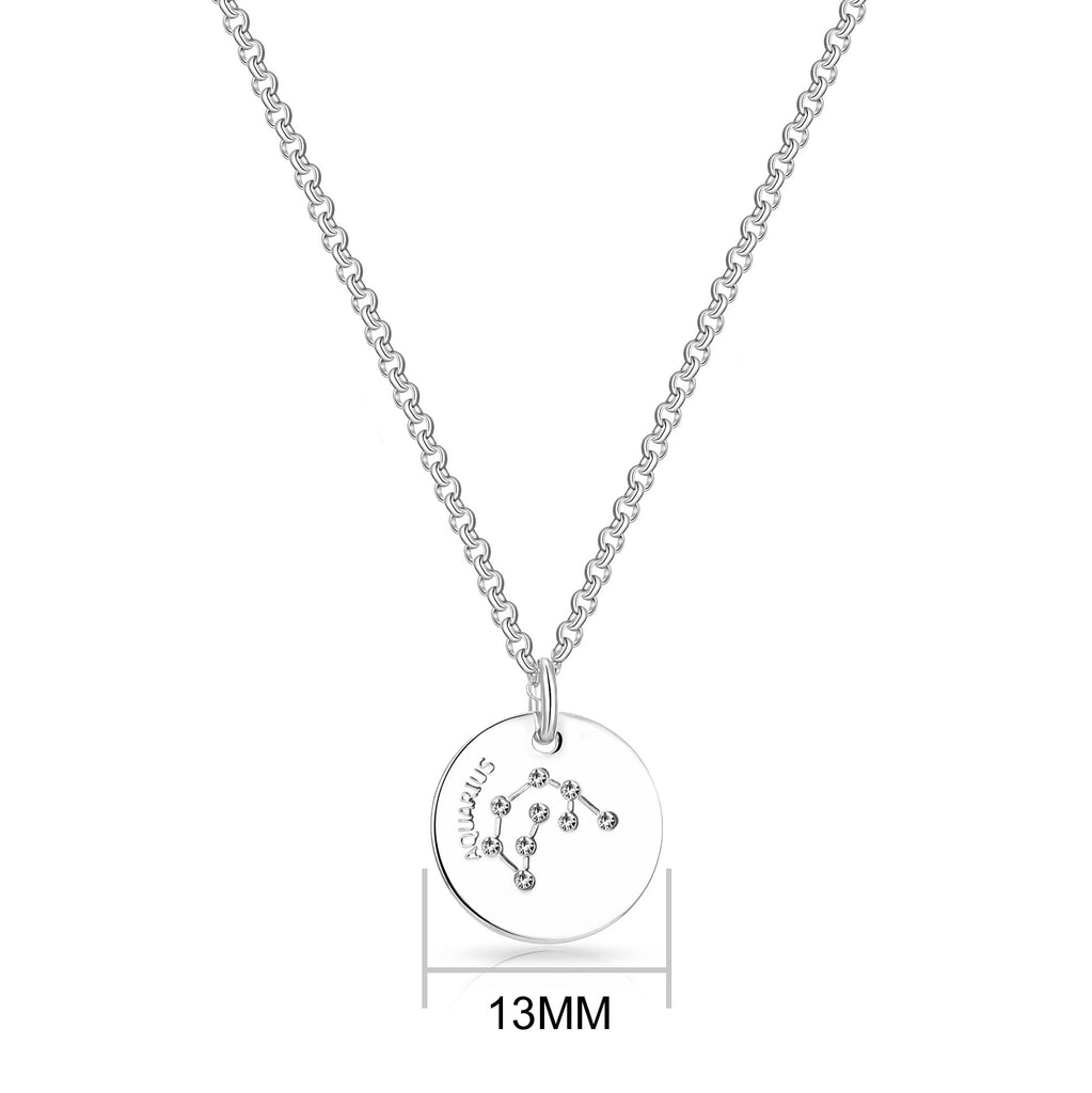Aquarius Starsign Disc Necklace Created with Swarovski Crystals