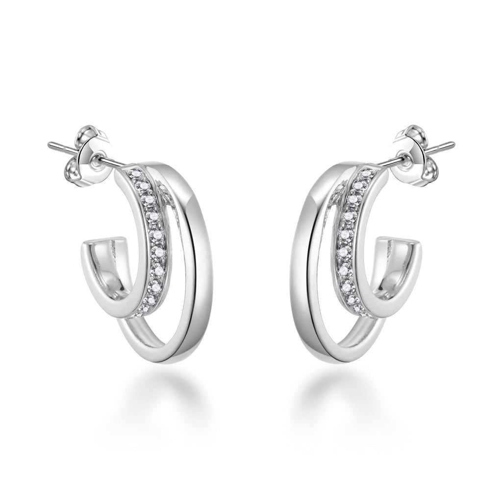 Silver Open Double Hoop Earrings Created With Swarovski Crystals