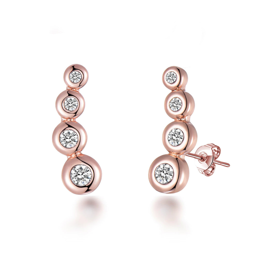 Rose Gold Four Stone Climber Earrings Created With Swarovski Crystals