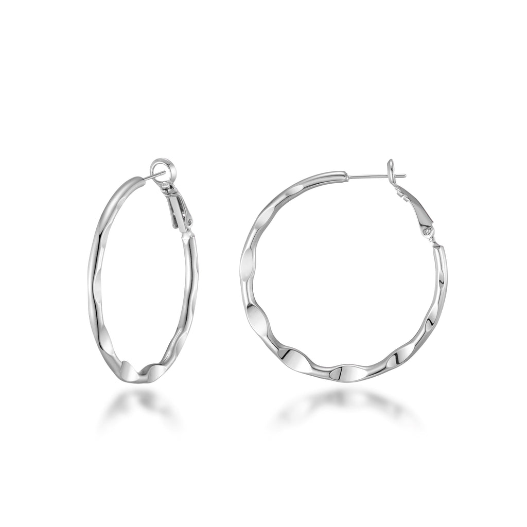 Silver 30mm Crimped Hoop Earrings