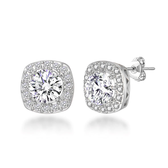 Silver Square Halo Earrings Created with Swarovski Crystals