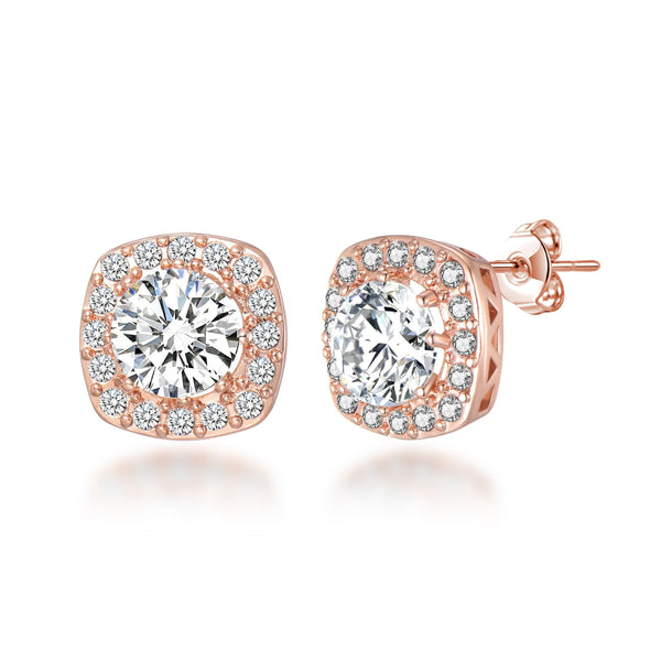 Rose Gold Square Halo Earrings Created with Swarovski Crystals