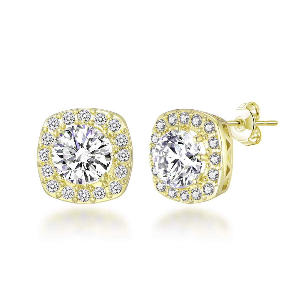 Gold Square Halo Earrings Created with Swarovski Crystals