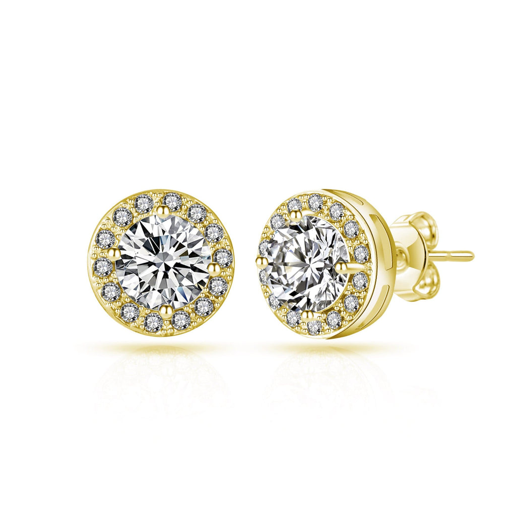 Gold Halo Earrings Created with Swarovski Crystals