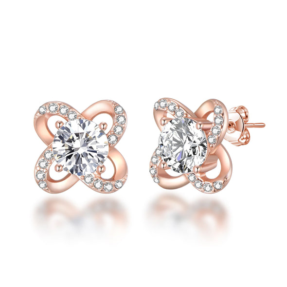 Rose Gold Orbit Earrings Created with Swarovski Crystals