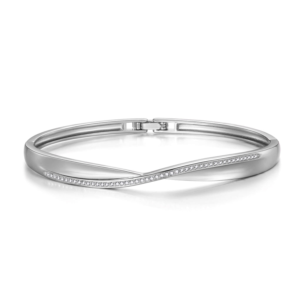 Silver Arc Bangle Created with Swarovski Crystals