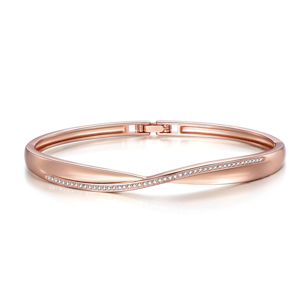 Rose Gold Arc Bangle Created with Swarovski® Crystals