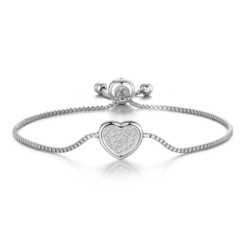 Silver Pave Heart Friendship Bracelet Created with Swarovski® Crystals