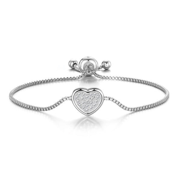 Silver Pave Heart Friendship Bracelet Created with Swarovski Crystals