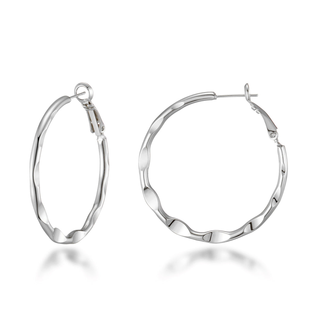 Silver 40mm Crimped Hoop Earrings