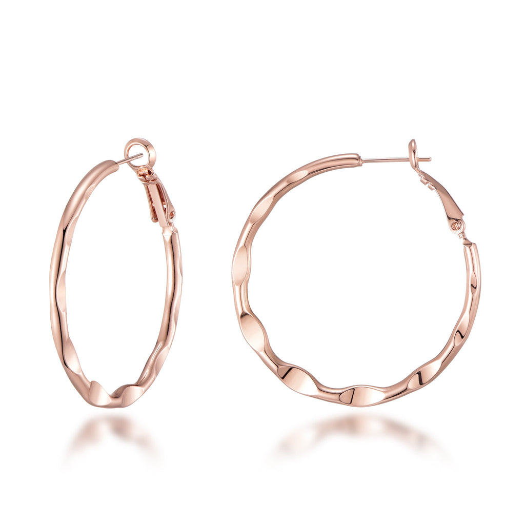 Rose Gold 40mm Crimped Hoop Earrings