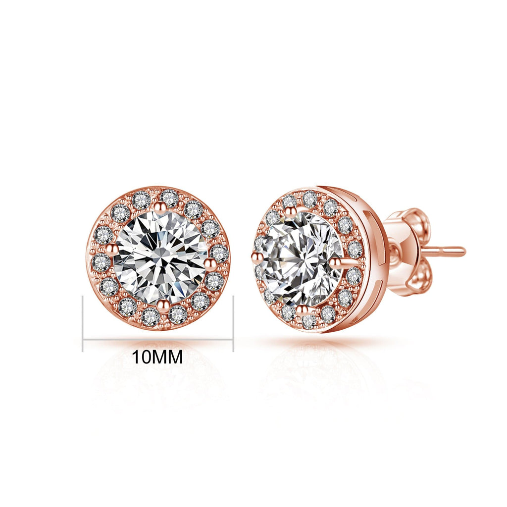 Rose Gold Halo Earrings Created with Swarovski Crystals
