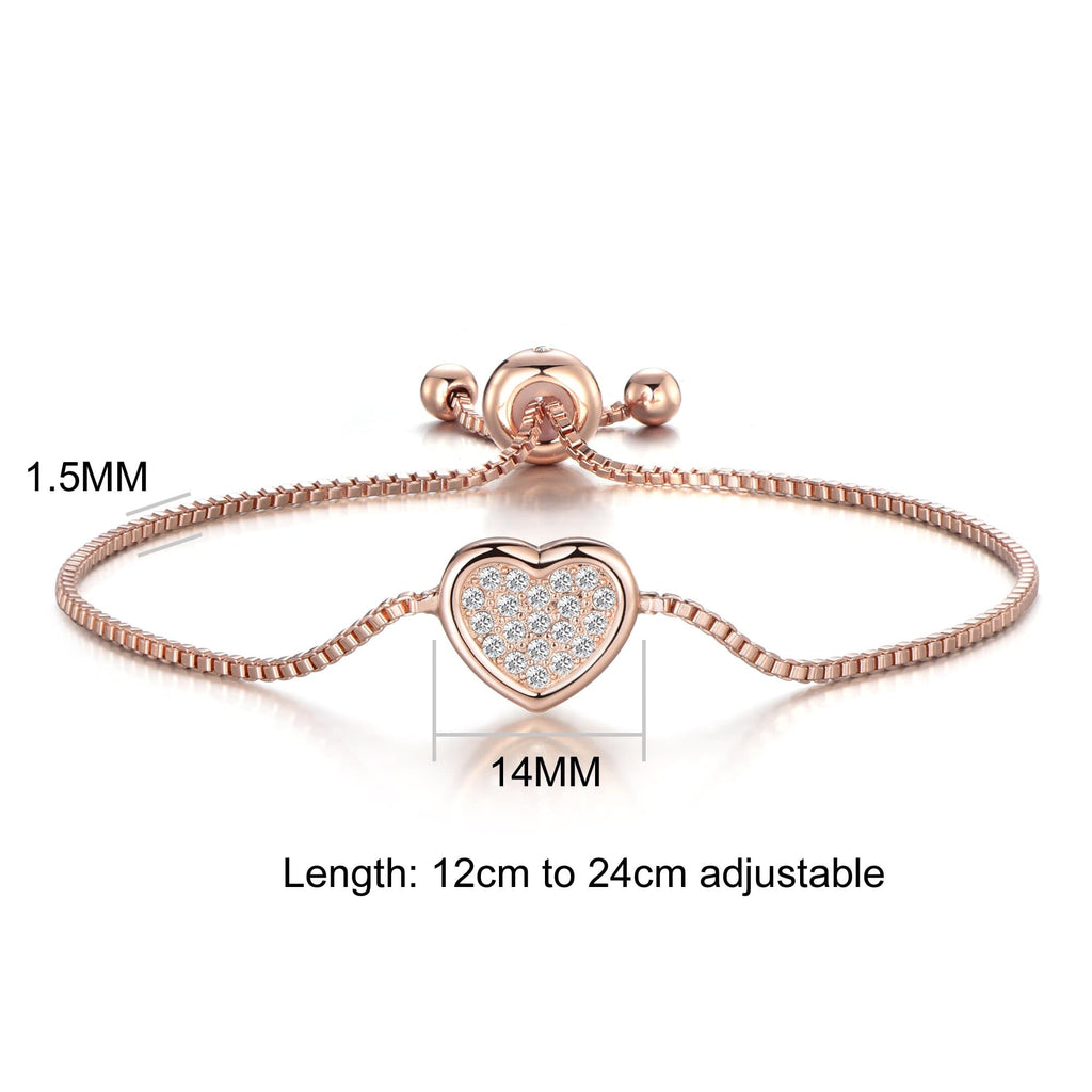 Rose Gold Pave Heart Friendship Bracelet Created with Swarovski Crystals
