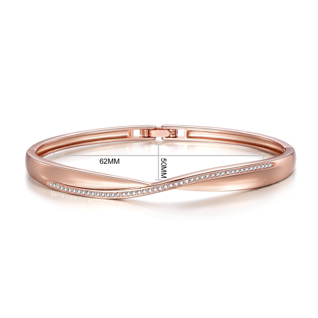 Rose Gold Arc Bangle Created with Swarovski Crystals