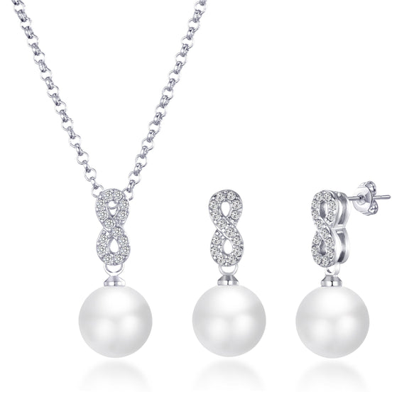 Silver Infinity Pearl Set Created with Swarovski Crystals